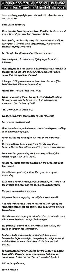 Girl Is Shocked To Receive This Note From Her Grandma This Is Hilarious funny jokes story lol funny quote funny quotes funny sayings joke hilarious humor stories funny jokes