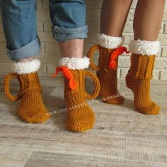 Hand knit socks Beer & shrimp socks mens socks Beer от mymomsshop1