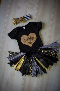 Girls First Birthday Outfit Black and Gold by SweetlyCarolina