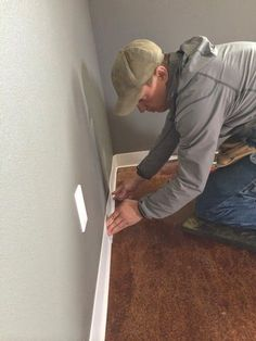 Owner Building a Home: The Momplex How To Install Rubber Cove Base Moulding White Baseboards, Baseboard Trim, Floor Molding, Base Moulding, Moldings, Bathroom Baseboard, Garage To Living Space, Cove Base, Habitat For Humanity Restore