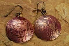 Copper Etched Metal Cranberry Bird Earrings by ccjewelrydesign, $22.00