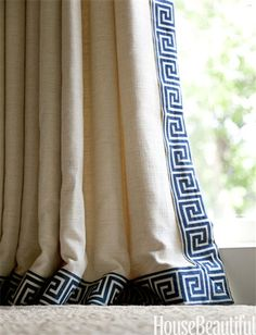 Trim a Curtain   Because curtains often require more fabric than people realize, 'If a client has an expensive fabric they love, I sometimes buy just enough to do a two- to four-inch-wide border,' designer Ann Wolf says. 'You'll get the look of the fabric without the expense.'