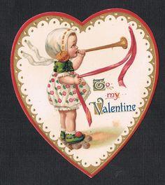 Die~Cut Victorian Valentine~Little Girl Blows Horn~Unsigned Frexias Illustration