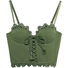 Fenty x Puma by Rihanna Ruffle Lace Trapunto Bustier Olive Branch //... (12.405 RUB) ❤ liked on Polyvore featuring tops, crop top, shirts, lace up crop top, lace-up tops, sexy crop top, sexy lace tops and ruffle crop top