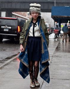 Tavi Gevinson is having some fun with this look! She is wearing a Comme des Garçons jacket.