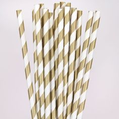 Gold Striped Paper Straws