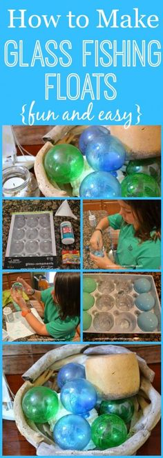 A fun and easy beachy project!  How to make glass fishing floats from clear Christmas ornaments.