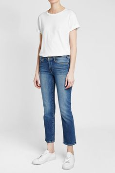 FRAME DENIM - Le High Straight Leg Jeans | STYLEBOP Blue Fashion, Frame Denim, Mom Jeans, Blue Style, Pants, Outfit Ideas, Outfits, Shopping, Clothes