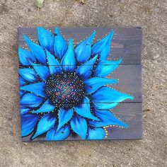 Blue Sunflower, sunflower barn door, sunflower painting, rustic sonflower painting in barn door, boh Flower Painting Canvas, Diy Canvas Art, Diy Painting, Painting Flowers, Mandala Painting, Acrylic Paintings, Rustic Painting, Painting Abstract, Sunflower Paintings