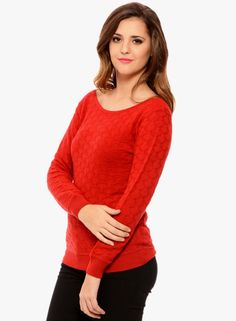 Red Knitted Sweater - SHOP MSMB #MYNTRA #JABONG | Buy MSMB Red ...