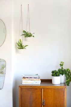 burkatron.: DIY | leather and clay hanging planters