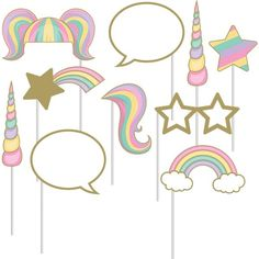 UNICORN PARTY PHOTO BOOTH PROPS. Perfect for a princess girls birthday party, hen do or bachelorette celebration.