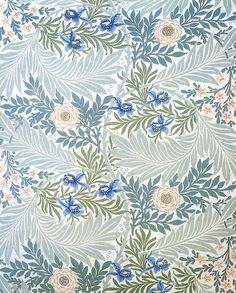 William Morris & co (Arts & Crafts): 'larkspur' Fabric Wallpaper, Of Wallpaper, Pattern Wallpaper, Wallpaper Designs, Art Deco, Art Nouveau, William Morris, Surface Pattern Design, Pattern Art
