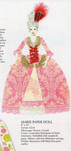 Paper doll, Marie Antoinette, illustration