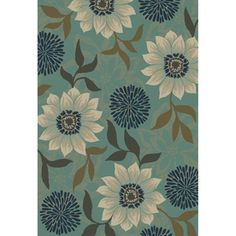 Oriental Weavers of America�Cumberland Rectangular Blue Floral Area Rug (Common: 5-ft x 8-ft; Actual: 5-ft 3-in x 7-ft 6-in)
