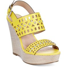 Charles by Charles David Aloof Wedge Sandals ($119) ❤ liked on Polyvore featuring shoes, sandals, yellow, wedge heel sandals, wedge heel shoes, studded sandals, yellow wedge sandals and yellow wedge shoes