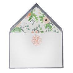 Haute Papier Floral Monogrammed Stationery (Set of 25)
