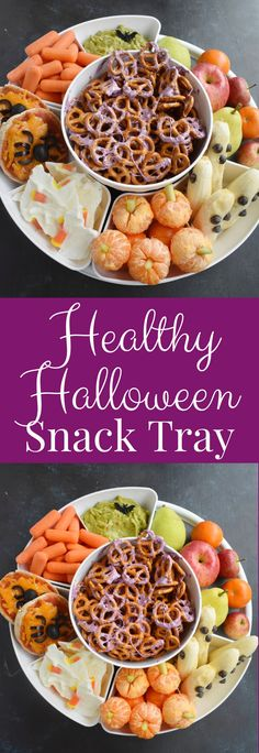 Healthy Halloween Snack Tray is so fun to put together with creepy Halloween foods like banana ghosts, spider pizzas, pumpkin clementines, candy corn yogurt bar and pretzels with cobwebs! #halloween #halloweenfood #snack #healthy