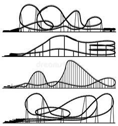 Illustration about Set of vector silhouettes roller-coaster from amusement park. Illustration of vector, framework, isolated - 36661515 Background Drawing, Cartoon Background, Seamless Background, Rolling Coaster, Roller Coaster Drawing, Best Roller Coasters, Little Doodles, Drawing Projects, Scrapbook Embellishments