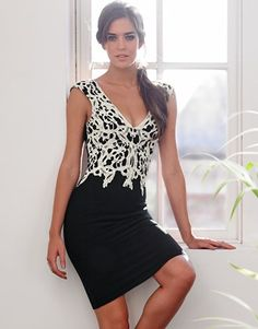 Lipsy Applique Contrasting Lace Dress