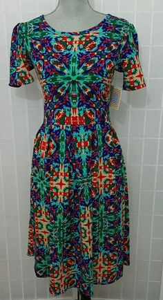 LuLaRoe Amelia L Summer Multi Color Print w/ Pockets - Beautiful! #LuLaRoe #Any