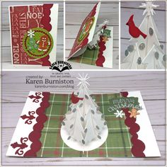 Karen Burniston using the Christmas Tree Pop-up, Gift Card Label, Nature Edges, Word Set 3 and Winter Charms die sets from karenburniston.com