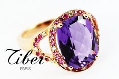 amethyst 4,8 carats, with diamonds and pink sapphires - pink gold. Bijoux Tiber, Paris, France
