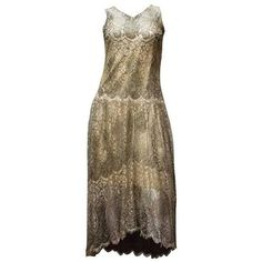 womens vintage clothing 1920s | Preowned 1920S Silver Lamé Lace Dress (7.775 BRL) liked on ...