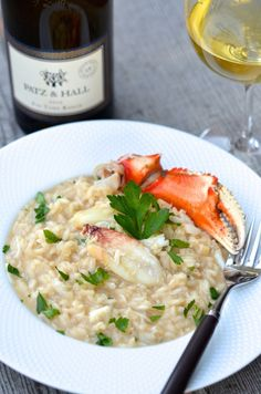 Stranded Foodie Recipe for Dungeness Crab Risotto with Meyer Lemon Yummy Pasta Recipes, Risotto Recipes, Seafood Recipes, Dinner Recipes, Cooking Recipes, Rice Recipes, Recipies, Dungeness Crab Recipes, Crab Risotto