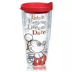 Disney Think… Believe… Dream… Dare… Tumbler with Lid - Anytime Gifts - Hallmark Mickey Love, Mickey And Friends, Mickey Minnie Mouse, Disney Mickey, Disney Magic, Walt Disney, Disney Dishes, Disney Cups, Disney Kitchen Decor