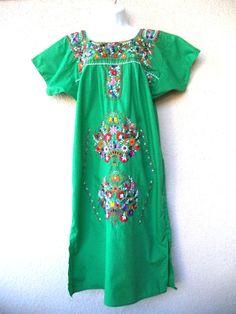 VTG Mexican EMBROIDERED DRESS Oaxacan Floral Cotton Hippie Boho GREEN Long XL #Handmade