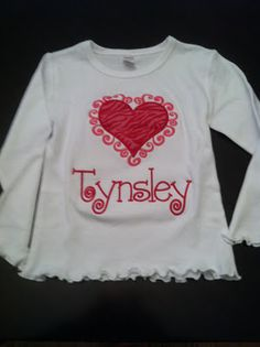 Valentine shirts monogrammed and appliqued.  Matching ruffle pants available too.