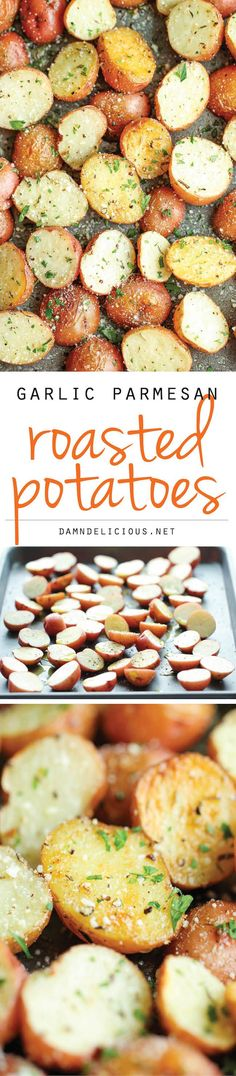 Garlic Parmesan Roasted Potatoes - These buttery garlic potatoes are tossed with Parmesan goodness and roasted to crisp-tender perfection!: