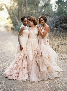 Three beautiful blush pink wedding dresses - so stunning! #blushpink #blushpinkwedding #weddingdress #dress #bride