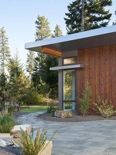 Corner detail and blue stone walkway at Stillwater Dwellings home in Cle Elum, Washington