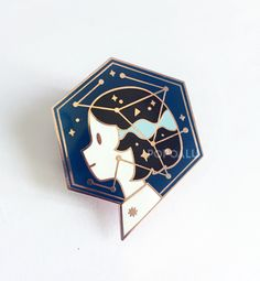 """For when your thoughts are full of space and its stars. 1.5"""" Rose Gold Plating Hard Enamel Metal clutch backing Each pin will come with a..."""