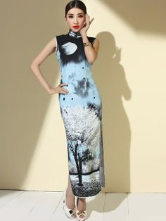 Blue Custom Tailored Ankle-lenght Qipao / Cheongsam Dress