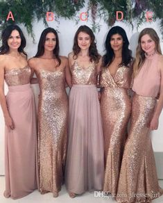 Elegant 2018 Blush Pink Bridal Bridesmaid Dresses With Rose Gold Sequin Mismatched Wedding Maid Of Honor Gowns Women Party Formal Wear Wedding Bridesmaids Dresses Black Chiffon Bridesmaid Dresses From Dressesgirl, $113.07| Dhgate.Com