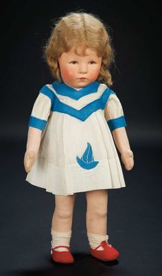 "Shirley's Cloth Character Doll ""Marcia"" by Kathe Kruse in Sailboat Costume $800+"