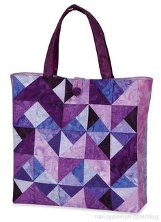 Create an easy and colorful tote bag with 2-1/2″ fabric strips and the Twisted Triangles Template.
