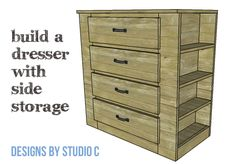 DIY Furniture Plans to Build a Dresser with Side Storage - Copy Easy Wood Projects, Diy Furniture Plans Wood Projects, Woodworking Furniture, Pallet Furniture, Bedroom Furniture, Dresser Furniture, Furniture Storage, Building Furniture, Pallet Projects