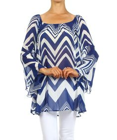 Another great find on #zulily! Navy Zigzag Bell-Sleeve Top by J-MODE #zulilyfinds
