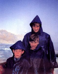 Prince Harry, Prince William, and Diana, Princess of Wales on the Maid of the Mist, at Niagara Falls, October 26, 1991