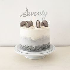 Grey and white ombré watercolour effect buttercream London Fog birthday cake with Earl Grey macarons by Blossom & Crumb
