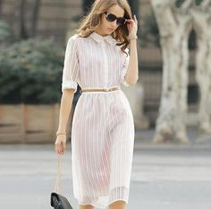 Simple Elegant Organza Mesh Striped See through Blouses Shirt Dress White Ball Grown Tutu Dresses-in Dresses from Women's Clothing & Accessories on Aliexpress.com | Alibaba Group