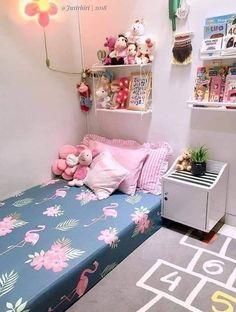 Image may contain: indoor kamar tidur Tiny Bedroom Design, Home Room Design, Girl Bedroom Designs, Room Ideas Bedroom, Small Room Bedroom, Home Decor Bedroom, Minimalist Room, Sheet Sets, Vibrant