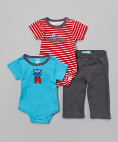 This Blue & Red 'Monster' Bodysuit Set - Infant by Watch Me Grow is perfect! #zulilyfinds