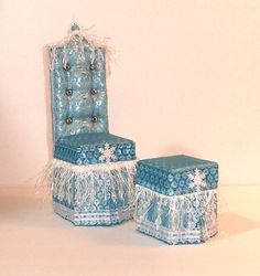Icicle Elsa Barbie Doll Chair & Ottoman Set by HKDesignz on Etsy