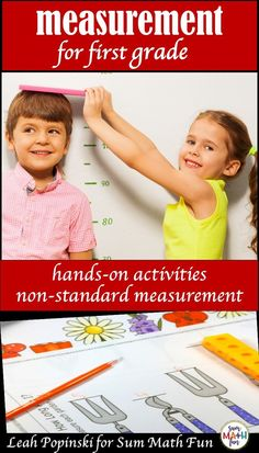 """Fun, cute non-standard measurement for your first graders! Students love """"measuring the room"""" as they practice all first grade measurement standards using these creative worksheets that go along with the hands-on activities. There's also a super cute game to practice measurement skills. Teacher and student loved! #nonstandardmeasurement #measurement #measurementfirstgrade"""