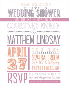 Font Fun Wedding Shower Invitation by pepperdeandesign on Etsy, $15.00